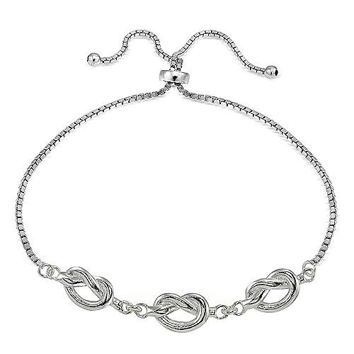 Amazon Com Sterling Silver Polished Pretzel Love Knot Adjustable