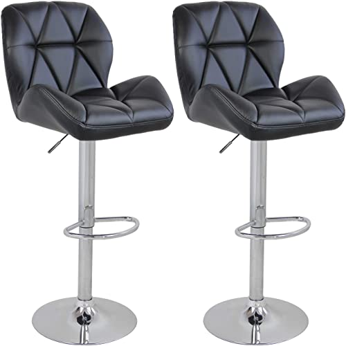 Set of 2 Bar Counter Stools Leather Gaslift Swivel Dinning Chair Armless Barstools , Black
