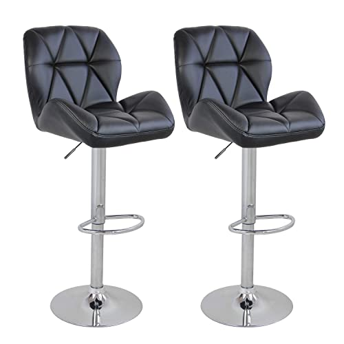 Set of 2 Bar Counter Stools Leather Gaslift Swivel Dinning Chair Armless Barstool