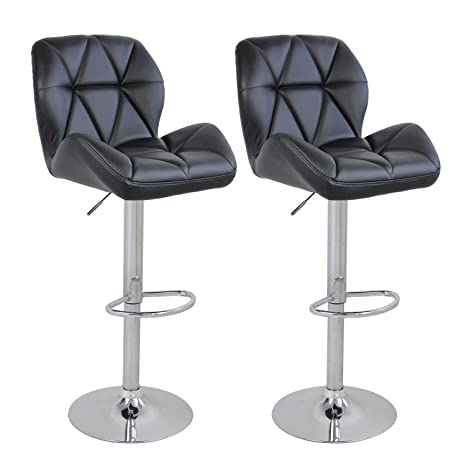 Terrific Set Of 2 Bar Counter Stools Leather Gaslift Swivel Dinning Chair Armless Barstools Black Andrewgaddart Wooden Chair Designs For Living Room Andrewgaddartcom