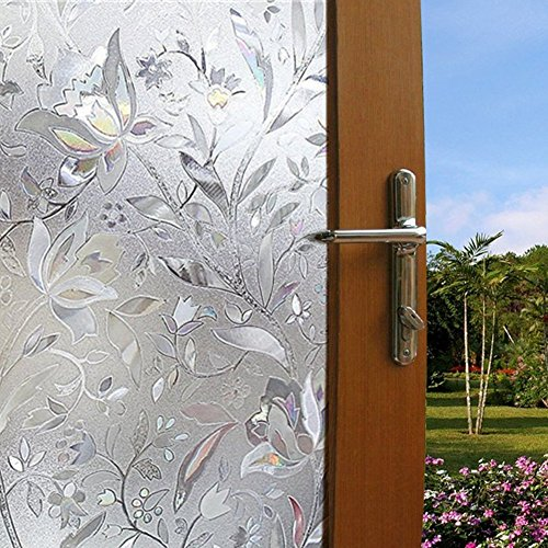 Becry Plastic Static Cling Decorative Stained Window Glass Film Home Office Bathroom Sliding Door Frosted Privacy Window Covering Film,35.5-by-78.7 Inches(90 x (Door Coverings)