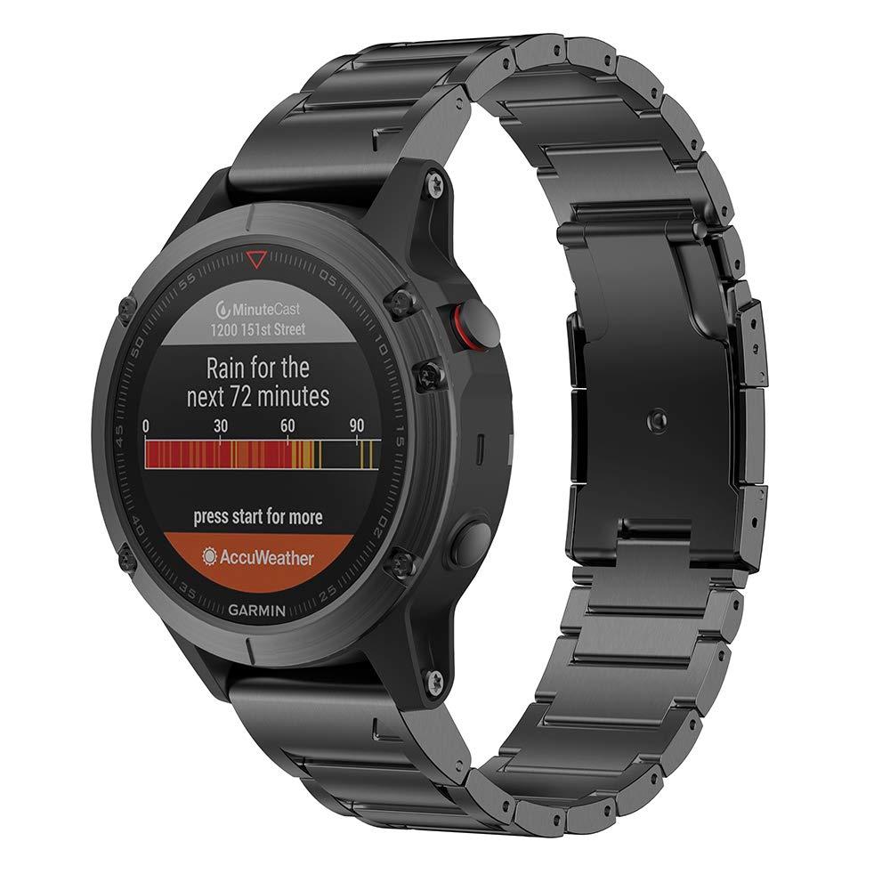 Notocity Compatible with Fenix 6 Titanium Alloy Watch Band 22mm Width Watch Strap for Fenix 5/Fenix 5 Plus/Fenix 6/Fenix 6 Pro/Forerunner 935/Approach S60/Quatix 5 (Black) by NotoCity