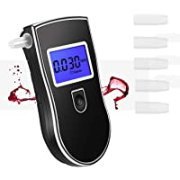 Breathalyzer, Professional and Portable Alcohol Detector with Semi-Conductor Sensor Breathalyzers Tester with LCD Screen and 5PC Mouthpieces