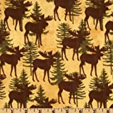 44'' Wide Back Country Flannel Moose Cream Fabric By The Yard