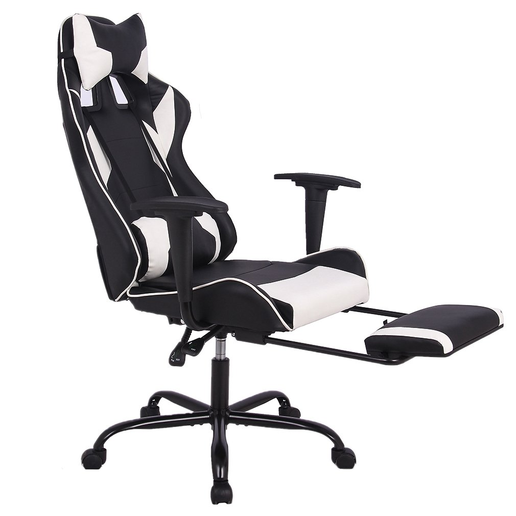 Office Chair Gaming Chair Ergonomic Swivel Chair High Back Racing Chair Footrest Lumbar Support Headrest