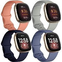 JUVEL Zestaw 4 pasków kompatybilnych z paskiem Fitbit Versa 3, Fitbit Sense pasek, miękki silikonowy sportowy, zamiennik…