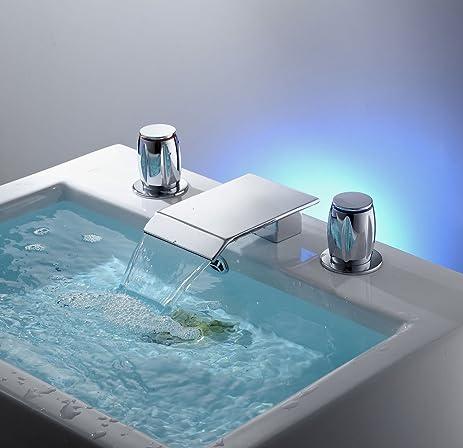 Aquafaucet Waterfall Bathtub Two Handles Spa Tub Vessel Sink Faucet, Chrome  Finished