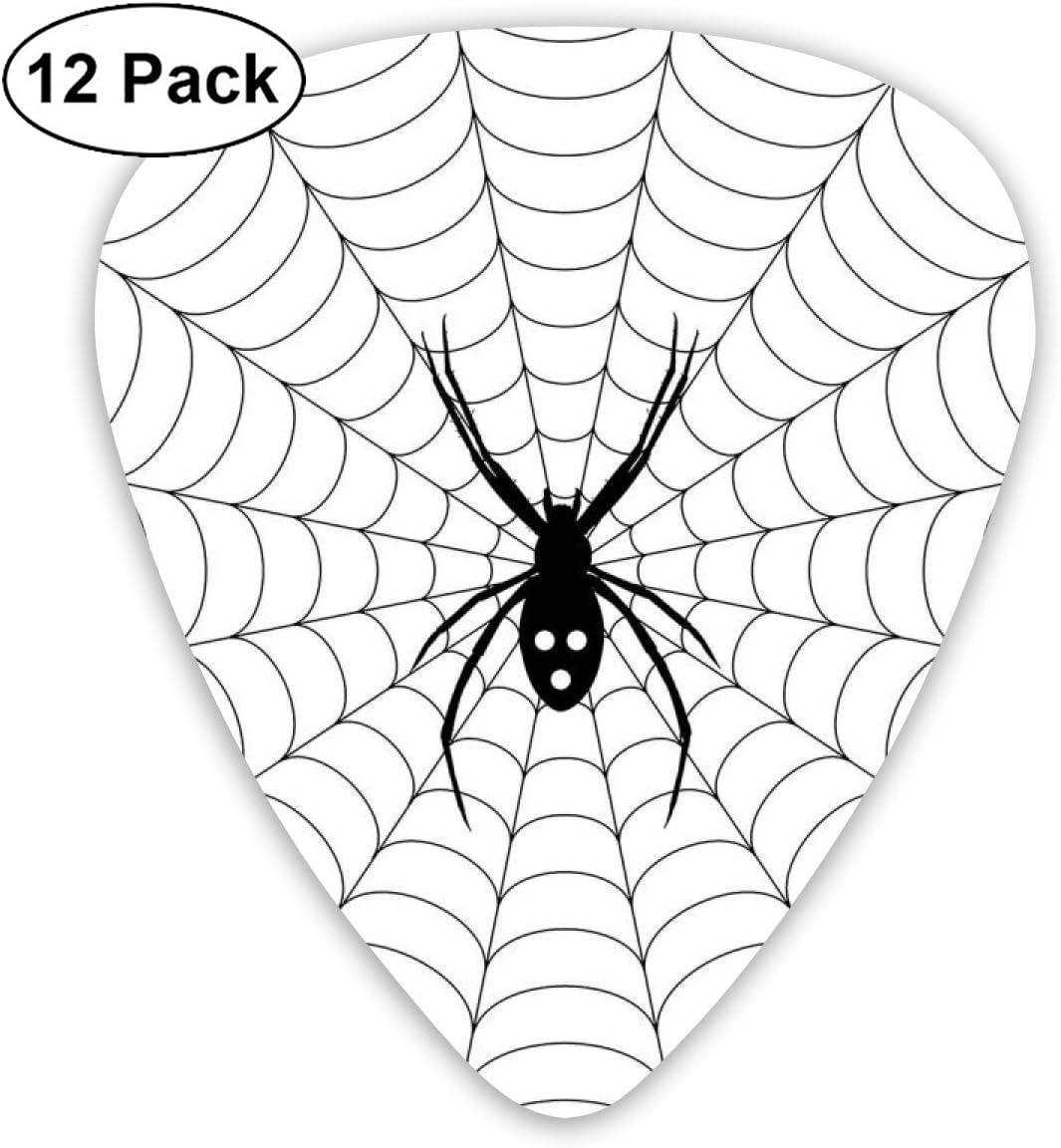 Guitar Picks12pcs Plectrum (0.46mm-0.96mm), Poisonous Bug Venom Thread Circular Cobweb Arachnid Cartoon Halloween Icon,For Your Guitar or Ukulele