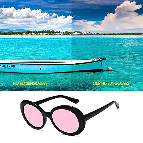 Intégrale Monture Ovale Lunettes Mode Casual Lunettes Accessoir à Soleil de Femme iShine rose Eté Noir de pour 8T0wq