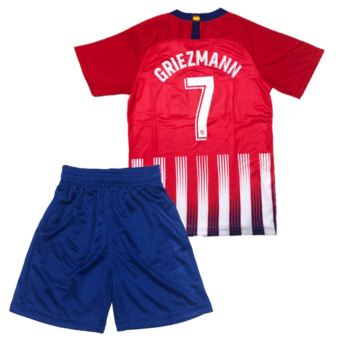 GLL SPORT #7 Griezmann New 2018/2019 Season Atletico Madrid Home Kids Shirt Soccer Football Jersey & Short & Socks Sport Kit for Youth Kids