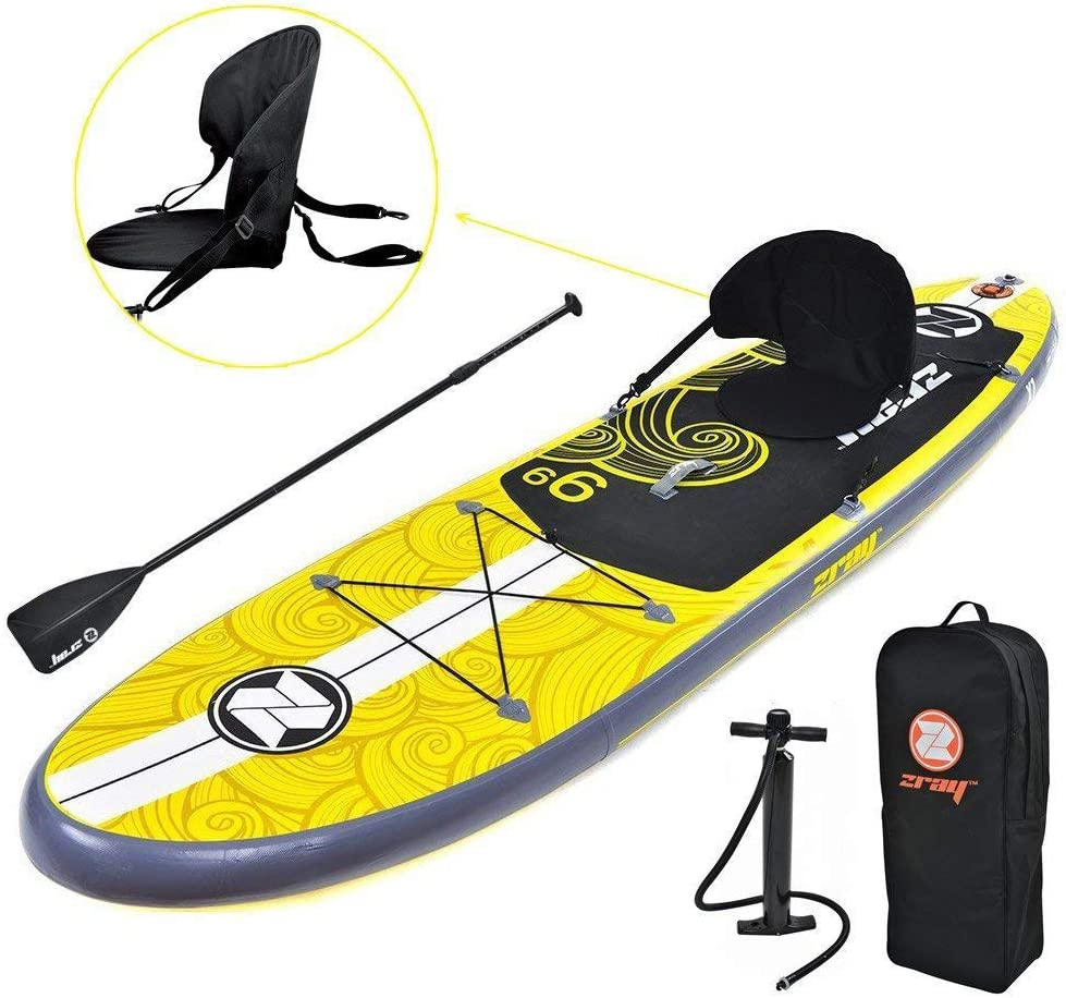 Zray Inflatable Paddle Board Stand Up SUP Comes with Adjustable Aluminum Paddle High-Pressure Pump with Gauge Big Durable Backpack