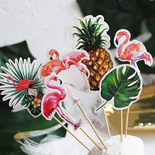 24pcs Flamingo Pineapple Monstera Cupcake Toppers Food Picks, Tropical Party Decorations, Luau Cupcake Toppers, Hawaiian Summer Party Décor, Baby Shower Wedding Birthday Party Supplies