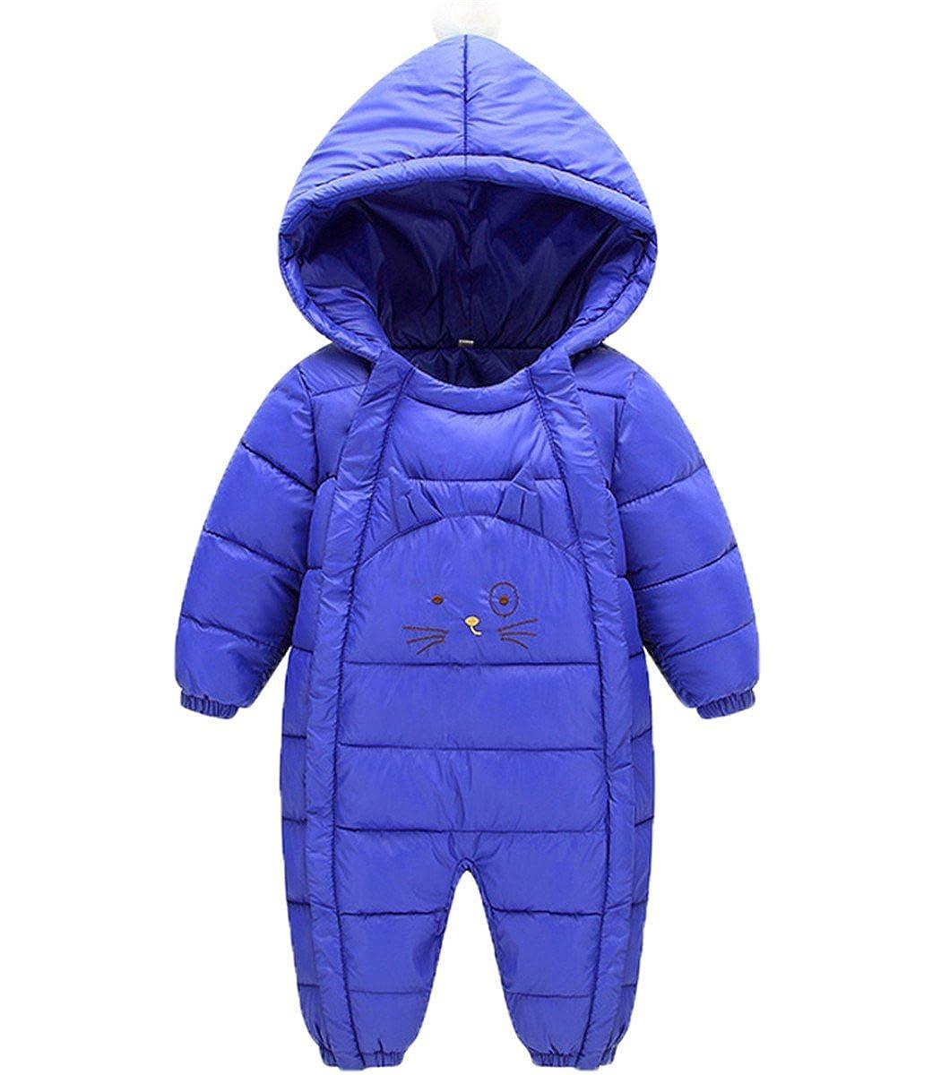 JELEUON Baby Girls Boys One Piece Cute Cat Winter Down Jacket Romper Jumpsuit