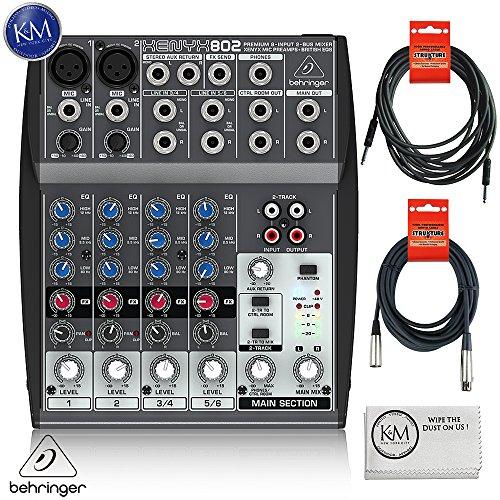 Behringer XENYX 802 5-Channel Compact Audio Mixer + 1 x 20ft Structure XLR Cable + 1 x 18.6 ft Strukture Instrument Cable + K&M Micro Fiber Cloth Bundle (20 Channel Compact Mixer)