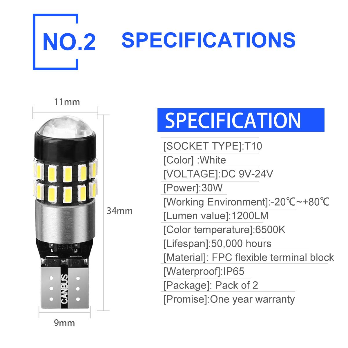Pack of 2 Autofeel 194 LED Light Bulb 6000K White Super Bright 168 2825 W5W T10 Wedge 30-SMD 3014 Chipsets LED Replacement Bulbs Error Free for Car Dome Map Door Courtesy License Plate Lights