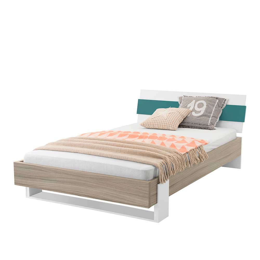 Pharao24 Jugendzimmerbett in Holz Petrol modern Breite 99 cm Liegefläche 90x200