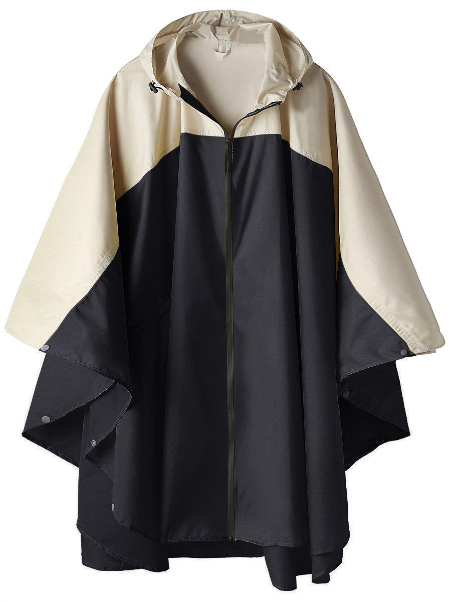 SaphiRose Waterproof Rain Poncho Jacket Hooded Coat Colorblock(Black with Zipper) by SaphiRose