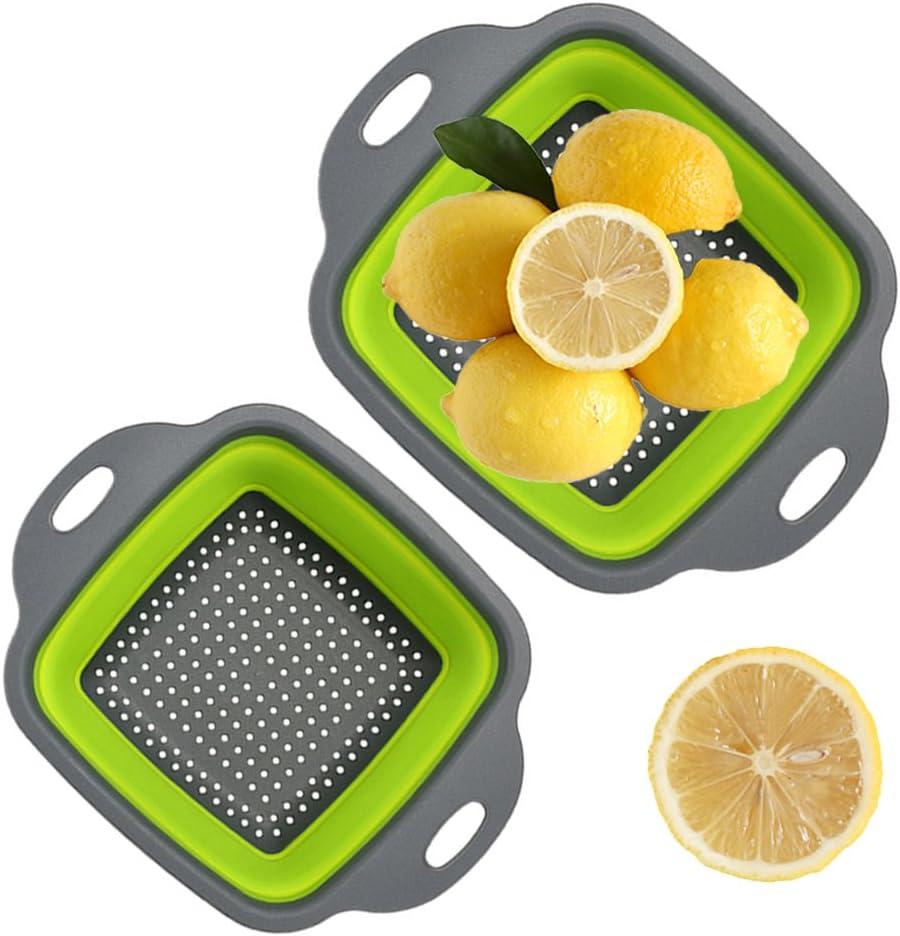 QELEG 2 Collapsible Colanders Set, Food-Grade Silicone kitchen Strainer Space-Saver Folding Strainer Colander, Dishwasher Safe (Square)