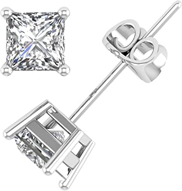 1.5 Ct Round Shape Stud Earrings In 14K White Gold Over Sterling Silver