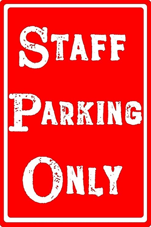 BORJOR Staff Parking Only -Cartel de Pared estaño Placa ...