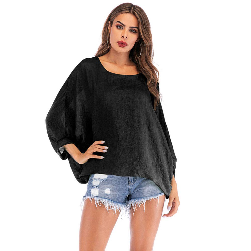 Women\'s Batwing Sleeve T Shirt Loose Blouse Tops Casual Pullover Top