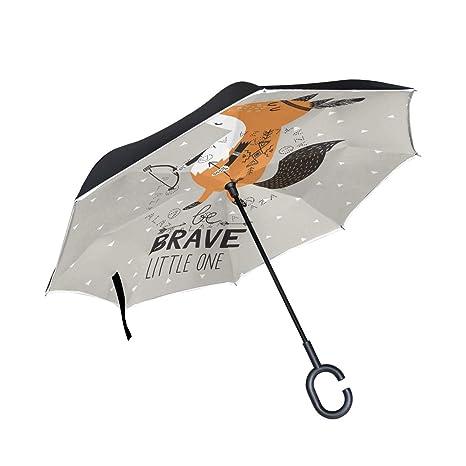 ISAOA Paraguas Plegable de Doble Capa,Paraguas de Auto de pie y ...