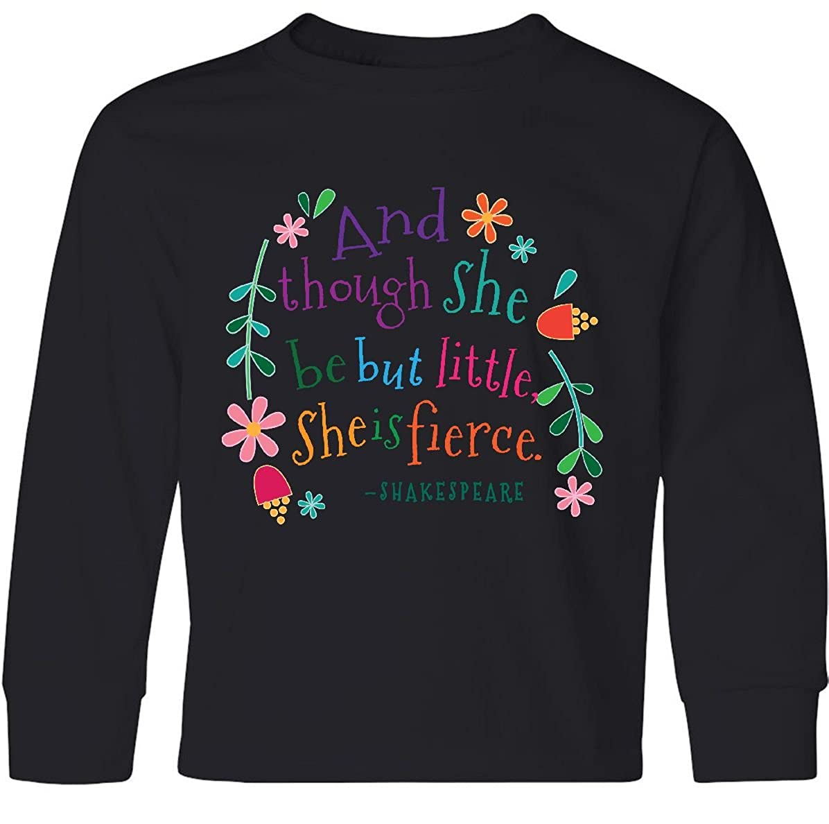 8128fa2d9d Amazon.com: inktastic - She is Fierce Funny Shakespeare Youth Long Sleeve T- Shirt 2aead: Clothing