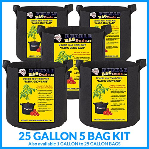 BUBBLEBAGDUDE Bags 5-Pack Breathable Fabric Containers Round Aeration Growing Garden Hydropnic Pot with Sturdy Handles, Color Black – Perfect Growing Environment for Any Plants 5 Pack – 25 Gallons