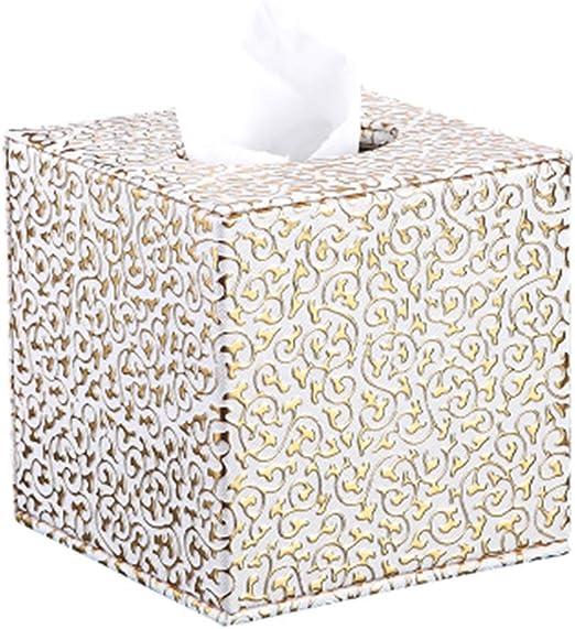 MMMP-Caja de pañuelos Caja de pañuelos de Papel de Cuero de PU Cuadrada Caja de pañuelos de Oficina en el hogar (Plateado/Dorado/Negro) (Color : Gold): Amazon.es: Hogar