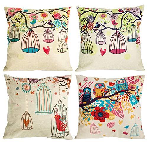 NYKKOLA Soild Owl Birdcage Bird Pattern Linen Throw Pillow Covers Set of 4, Decorative Pillowcase Cushion Cover for Sofa Bedroom Car 18 x 18 Inch 45 x 45 cm (Style 18) (Color Plaid Pattern Split)