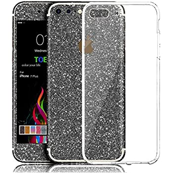 Iphone 7 plus sticker toeoe bling crystal diamond decal skin with a clear case for