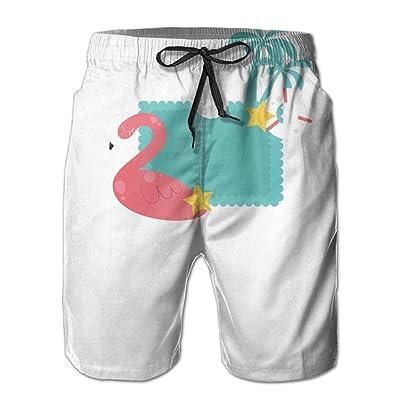 Weeben Cartoon Swan Palm Tree Seaside Men's Comfortable Board Shorts with Pockets