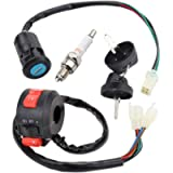 4 Wires Ignition Switch Key with Cap+3 Function Left Starter Switch Assembly for 50cc 70 cc 90cc 110 cc 125cc 150cc…