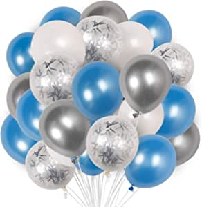 Blue Balloons, 60 pcs Light Blue Balloons, White Balloons, Silver Confetti Balloons, Silver Metallic Balloons, Blue and White Balloons, Birthday Party Decorations, Party Supplies, Baby Shower