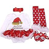 Fairy Baby Baby Girl 4Pcs Christmas Costume Bodysuit Tutu Dress Outfit Clothes Set