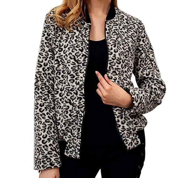 BaZhaHei-Chaqueta de Mujer, Blusa de béisbol Mujer Leopard Cuello Redondo Cremallera Camisetas de