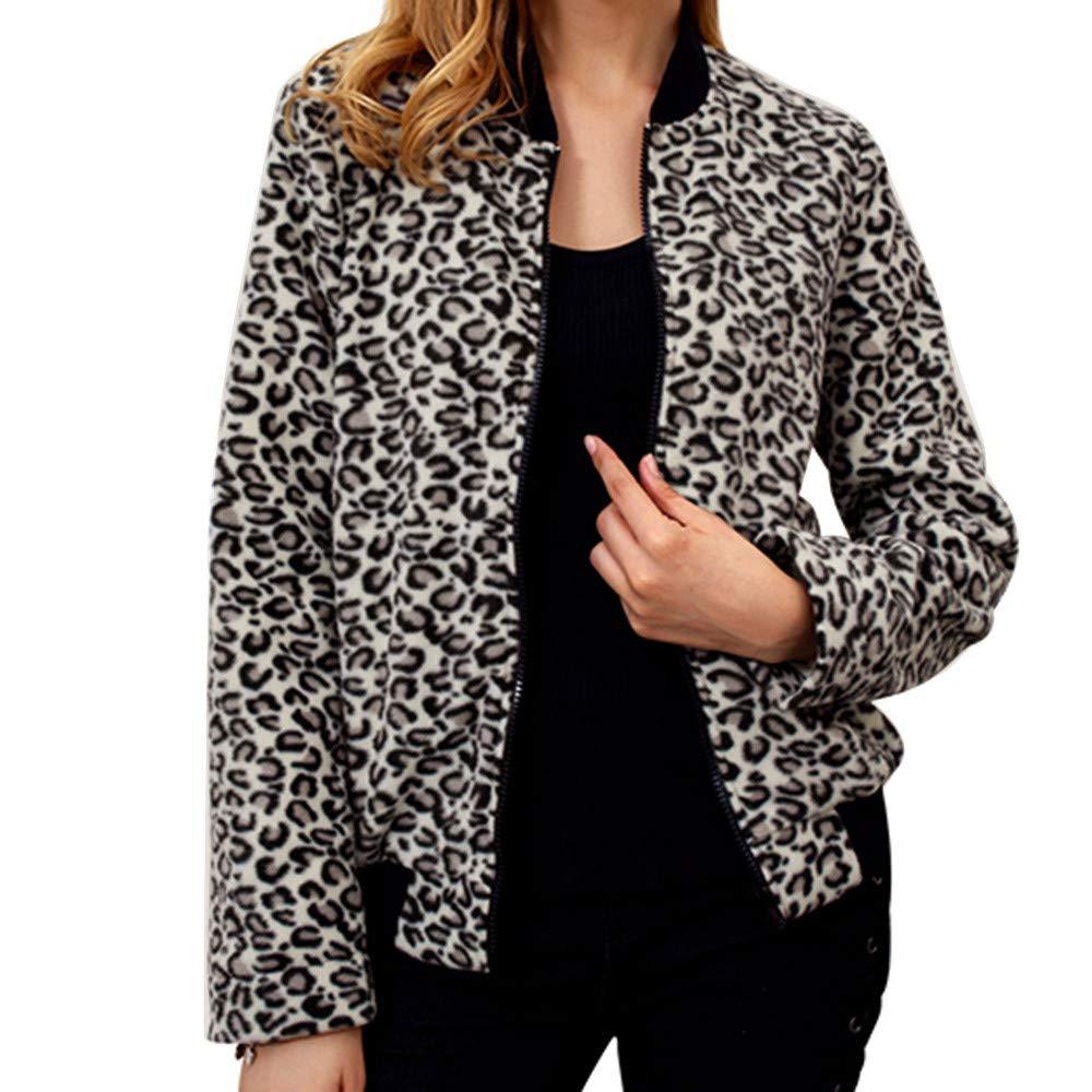 Faionny Women Autumn Zip Jacket Leopard Round Neck Cardigan Baseball Regular Coat Long Sleeve Outwear Clearance Sale
