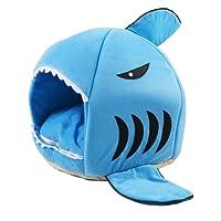 HappyX Cama Suave de Perros en Forma de Tiburón Casa de Mascotas con Cojín Extraíble, Cálido Cachorro Conejo Cama Sofá para Gatos y Perros, 2 Tamaños (Medio, Azul)
