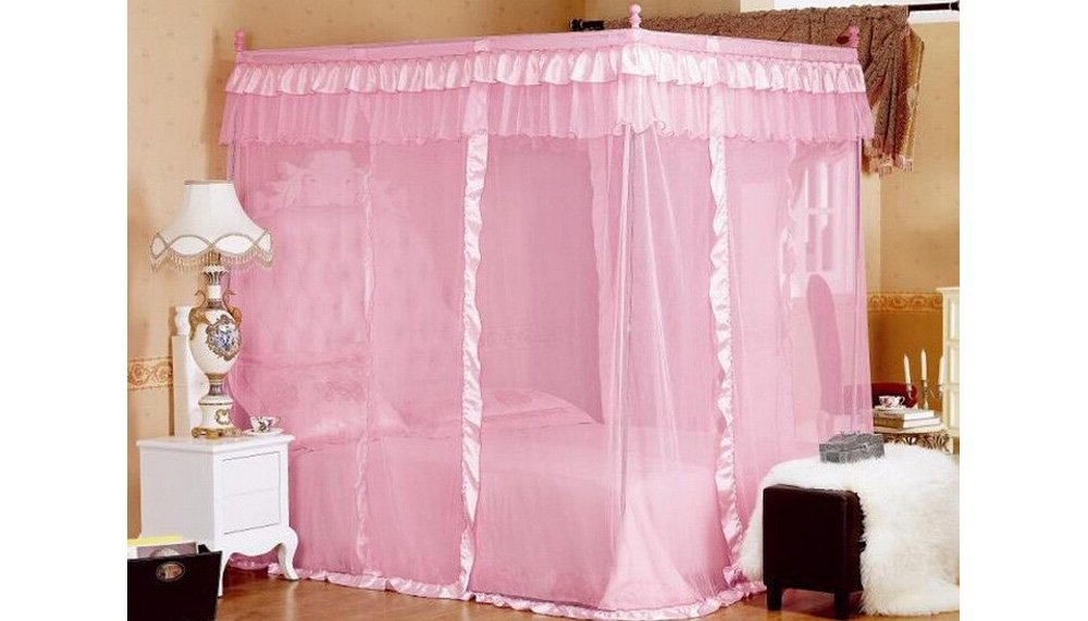 Amazon.com Pink Princess 4 Corners Post Bed Curtain Canopy Mosquito Netting (Twin) Home u0026 Kitchen  sc 1 st  Amazon.com & Amazon.com: Pink Princess 4 Corners Post Bed Curtain Canopy ...