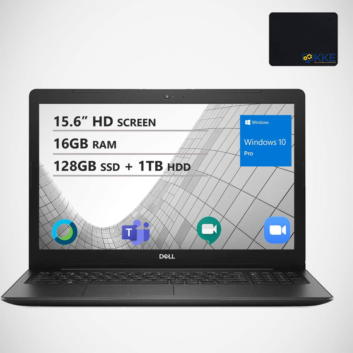 "Dell Inspiron 15.6"" HD Business Laptop, Intel 4205U, 16GB RAM, 128GB PCIe SSD + 1TB HDD, Webcam, WiFi, KKE Mousepad, Bluetooth, Win10 Pro, Black"
