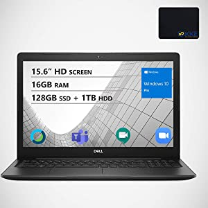 "Dell Inspiron 15.6"" HD Business Laptop, Intel 4205U, 16GB RAM, 128GB PCIe SSD + 1TB HDD, Webcam, WiFi, KKE Mousepad, Bluetooth, Win10 Pro, Black"