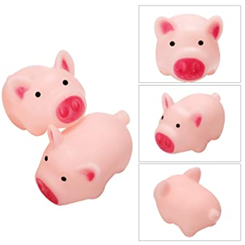 Norme 40 Pieces Mini Rubber Pigs Bath Pig Toys Pink Bath Toys for Boys Girls Bathing Favors