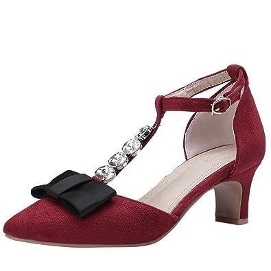 YE Damen T Spangen High Heels Pumps Spitze mit Schleife und Riemchen 5cm Absatz Bequem Schuhe