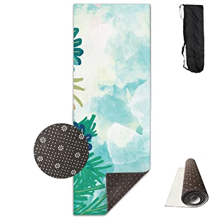Premium impreso Yoga Mat Verde Plantas ecológica Reversible ...