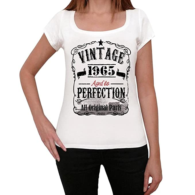 1965 Vintage Aged to Perfection Mujer Camiseta Blanco Regalo ...