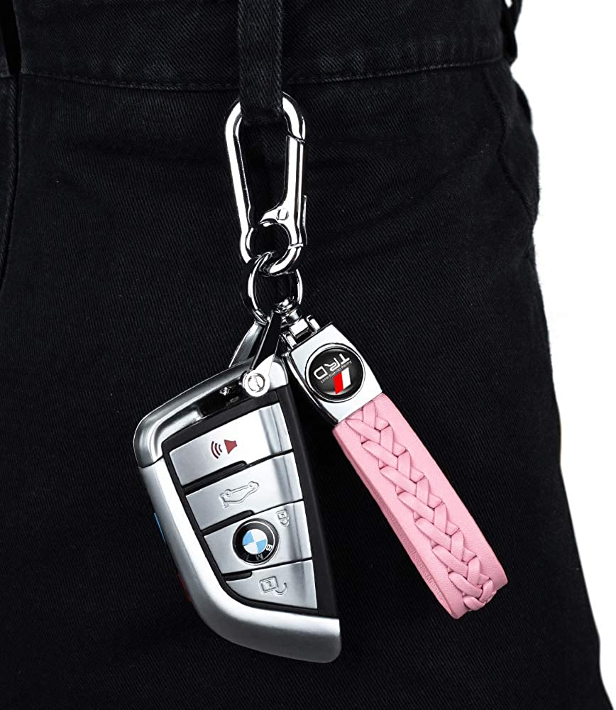1Pack Leather Key Chain Suit for Toyota keychain keyring Sequoia Tundra Tacoma 4RunnerTrucks Vehicle TRD