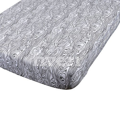 Danha Premium Fitted Cotton Crib Sheet With Grey Wood Grain Print – Standard Crib Mattress Size – Toddler, Kids Bedding – Woodland Nursery Décor Theme – Ideal Baby Shower (Woodland Green Acrylic)