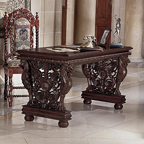 Design Toscano AF7242 Effingham Gryphon Library Desk Dining Table, 55 Inch Antique Oak Library Table