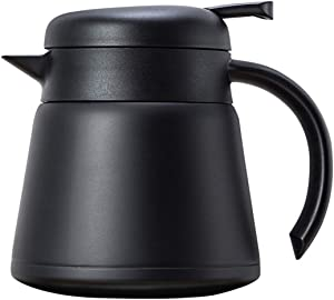 OnePine 800ml Stainless Steel Thermal Carafe Coffee Jug Double Wall Insulated Vacuum Jug for Coffee, Tea, Hot & Cold Drinks (Black)