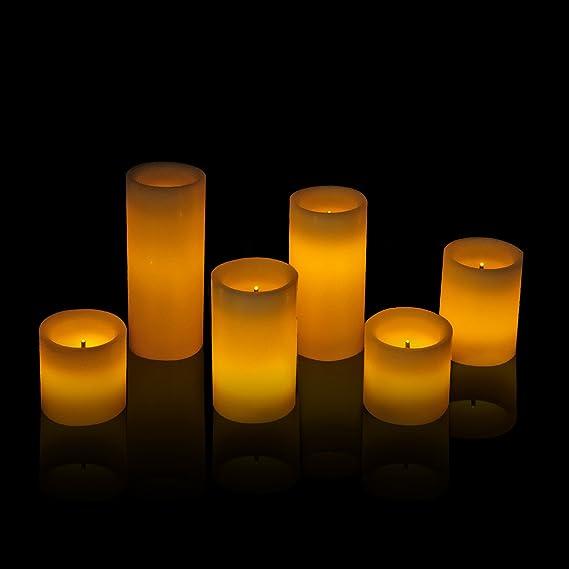 Amazon.com: DDXJ - Velas de cera, pilar sin llama, con mando ...